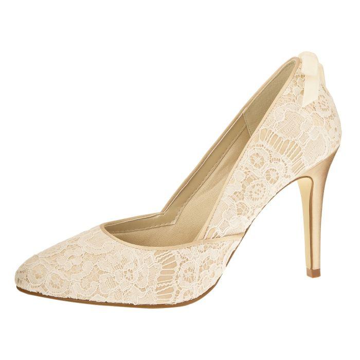 Bridal shoe Agnes Gold/Ivory Vint. Satin