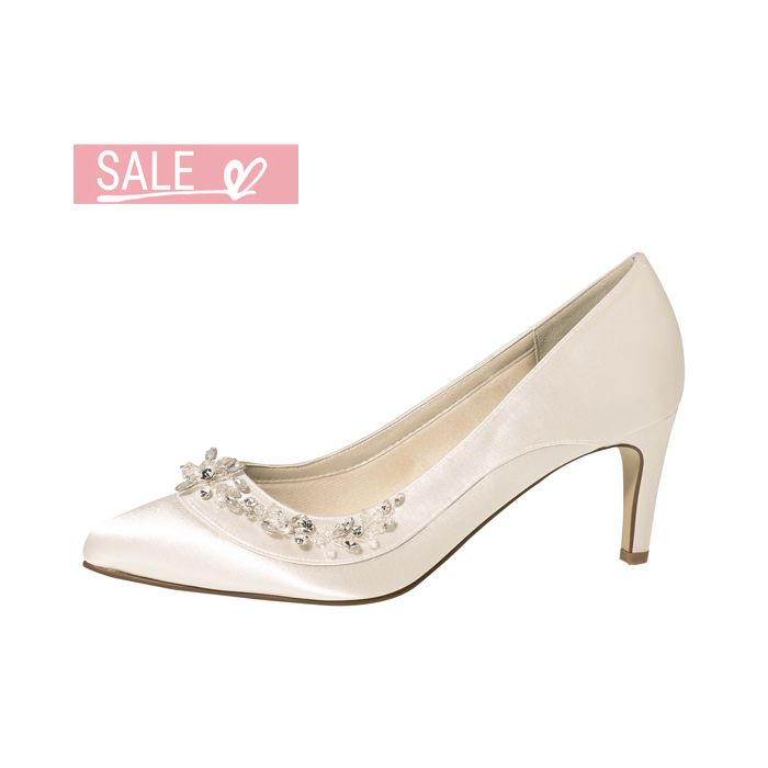 Bridal shoe Bernice Ivory Satin/ Silver Bejewelled