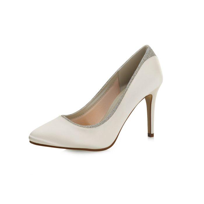 Bridal shoe Billie Ivory Satin/ Silver Fine Glitter