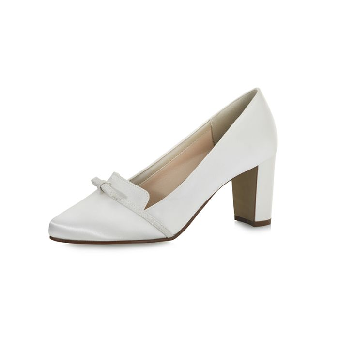 Bridal shoe Brigit Ivory Satin/Off-White Fi. Glitter