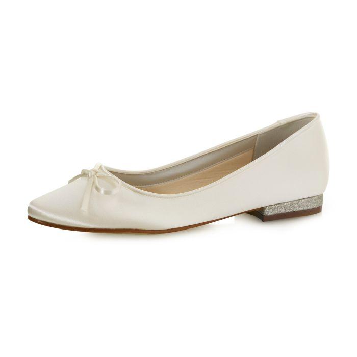 Bridal shoe Brittany Ivory Satin/ Fine Glitter