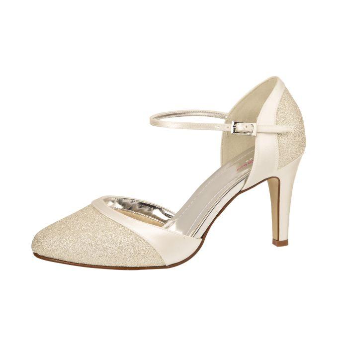 Bruidsschoen Caroline Ivory Satin/Silver Fine Glitter