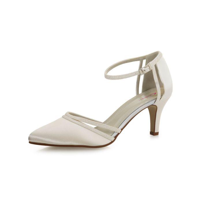 Bridal shoe Desi Ivory Satin/ Off-White Fine Glitter