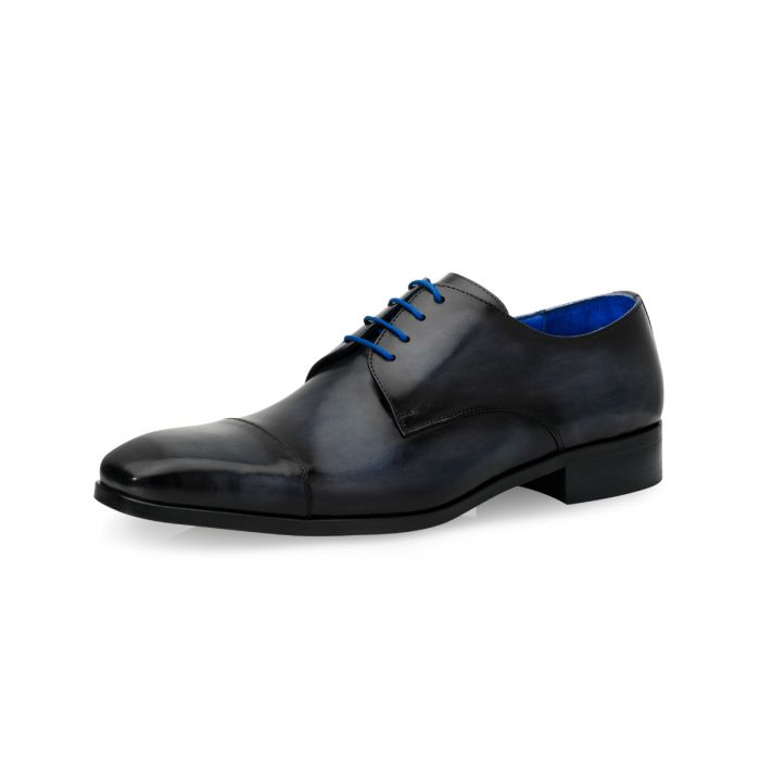 Wedding shoe Dinand Calf Leather Marble - Blue/Grey
