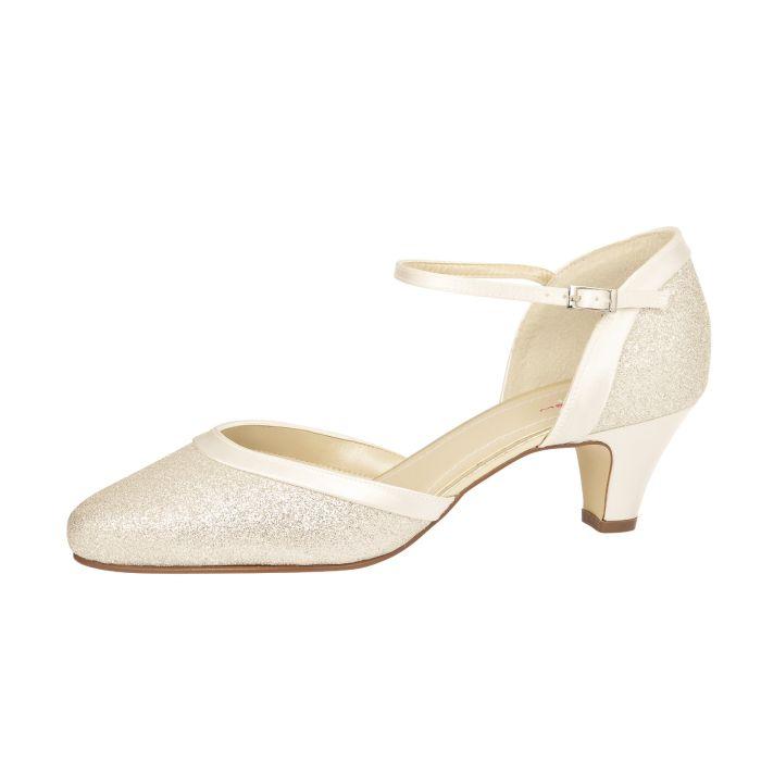 Brautschuhe Ester Ivory Satin/ Silver Fine Glitter