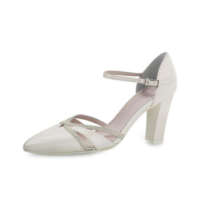 Bruidsschoen Florine Perle Leather/Silver Fi. Glitter