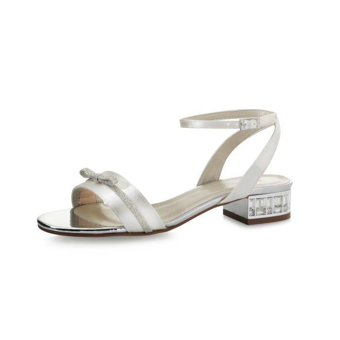 Bridal shoe Gail Ivory Satin/Silver Fine Glitter