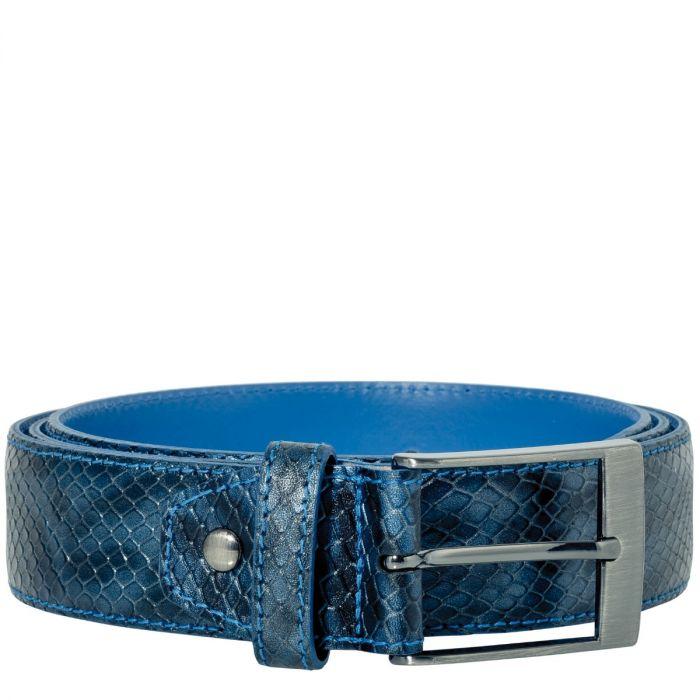 Belt Jeremy Calf Leather Reptile - Dark Blue