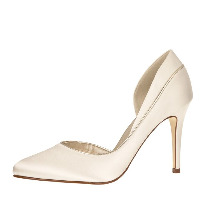 Bridal shoe Joanne Ivory Satin/ Gold Piping