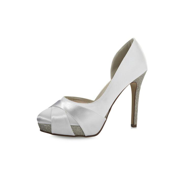 Brautschuhe Kelis Pure White Satin/Silver F. Glitter