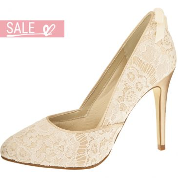 Bridal shoe Agnes Gold/Ivory Vint. Satin