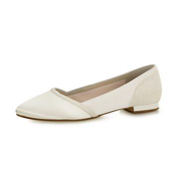 Bridal shoe Belina Ivory Satin/Off-White Fi. Glitter