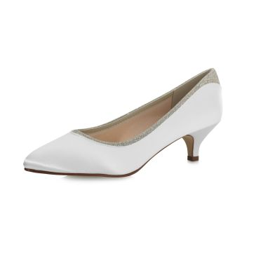 Bruidsschoen Bobbie Ivory Satin/ Silver Fine Glitter