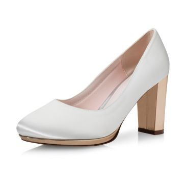 Brautschuhe Clair Ivory Satin/ Rose-Gold Mirror