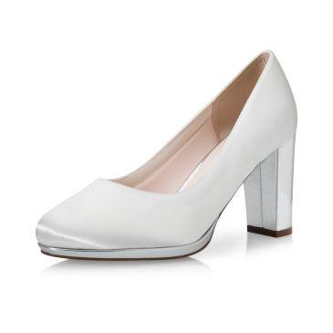 Bridal shoe Clair Ivory Satin/ Silver Mirror