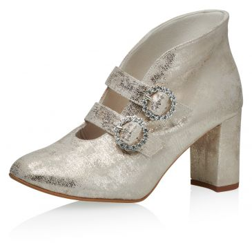 Eboni Champagne Gold Suede (Leather)