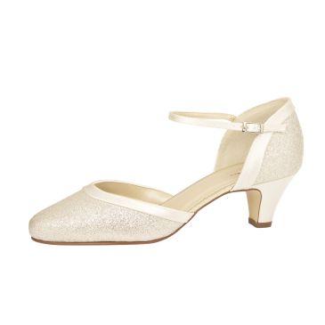 Bruidsschoen Ester Ivory Satin/ Silver Fine Glitter