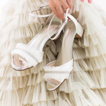 Karyssa Ivory Satin/ Silver Fine Glitter
