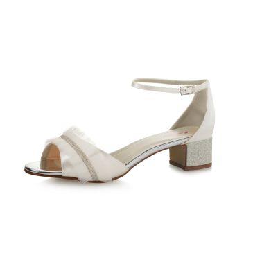 Bridal shoe Karyssa Ivory Satin/ Silver Fine Glitter