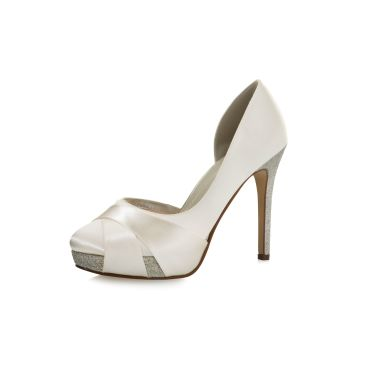 Bridal shoe Kelis Ivory Satin/Silver Fine Glitter