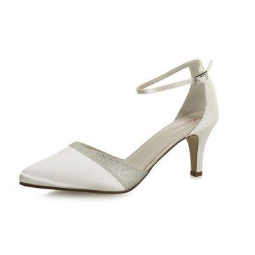 Lisan Ivory Satin/ Silver Fine Glitter