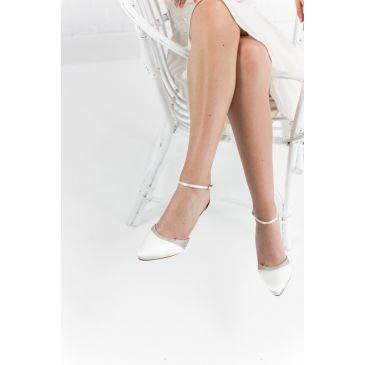 Lisan White Satin/Silver Glitter