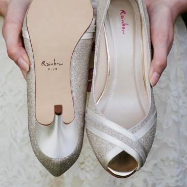 Margie Ivory Satin/ Silver Fine Glitter