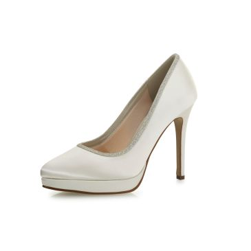 Tallulah Ivory Satin/Silver Fine Glitter