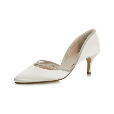 Teddie Ivory Satin/ Silver Fine Glitter