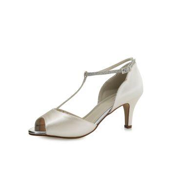Yill Ivory Satin/ Silver Fine Glitter